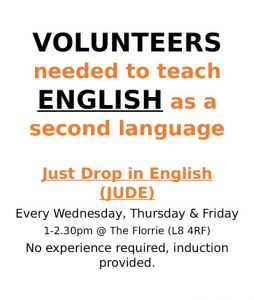 volunteers needed to teach English